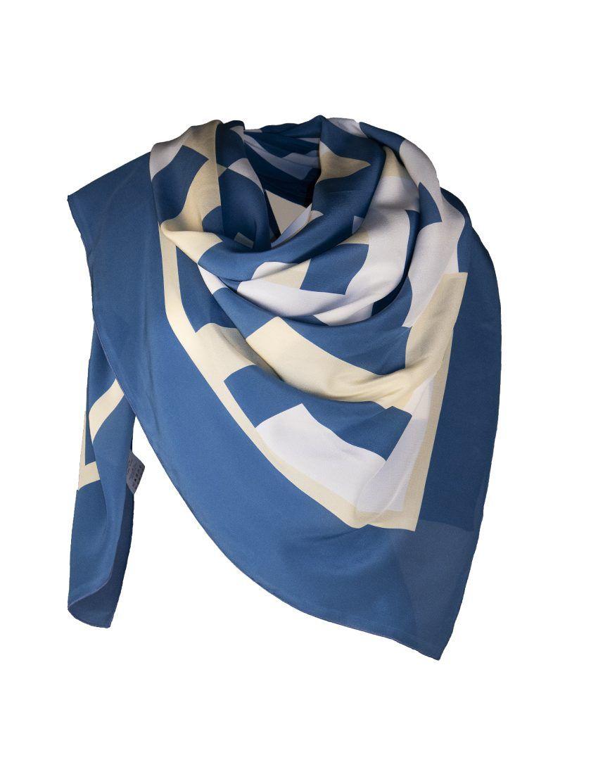 Alysi-12412 Foulard Print Tretris Blue Bonet