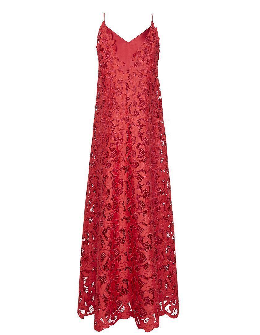 Vestido Guipur seda Alice Rojo-1